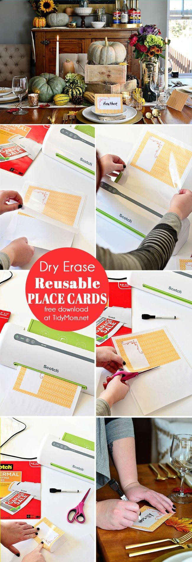 DIY Laminated Place Cards Free printable