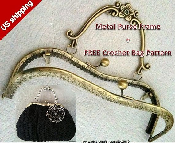 8 inch antique bronzeblossom metal purse frame free by natyo2010 799 - Metal Purse Frames