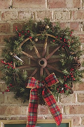 Turn antique wagon wheel into a holiday wreath!                                                                                                                                                      More