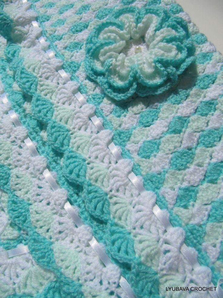 Crochet 3d Flower Baby Blanket Free Pattern : Crochet Baby Blanket with 3D Crochet Flower, Beautiful ...