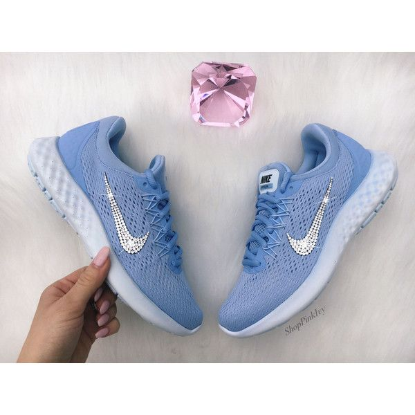 Swarovski Nike Lunar Skyelux Shoes Customized With Swarovski Crystals (510 BRL) ❤ liked on Polyvore featuring shoes, silver, women's shoes, blue shoes, rhinestone shoes, blue rhinestone shoes and swarovski crystal shoes