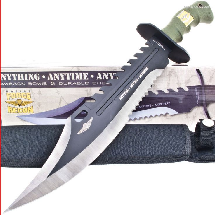 United Marine Force Recon Bowie Knife Sawback Fighting ...