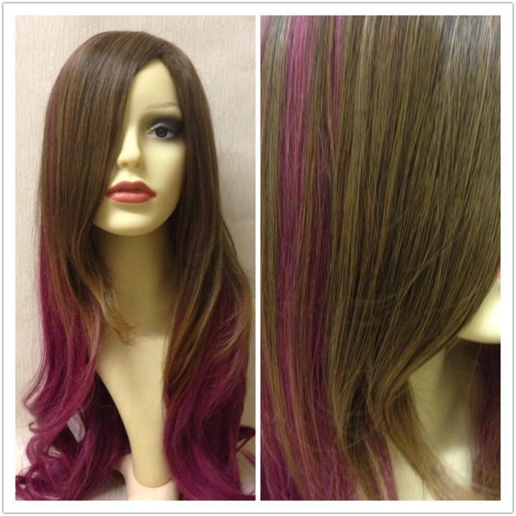 Ember Natural Brown Purple Gradient Dip Dye Cosplay Wig Wigs Wigs Cosplay Wigs