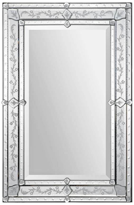Vincenzo Glass 24 X 36 Rectangular Wall Mirror 24c47 Lamps Plus Etched Mirror Mirror Wall Mirror