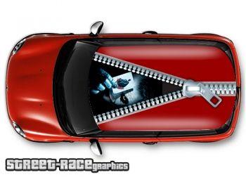Joker - printed and laminated (air release) vinyl car roof graphics.