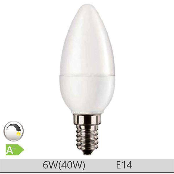 Bec LED PILA 6W E14 forma lumanare B35, lumina calda http://www.etbm.ro/tag/149/becuri-led-e14