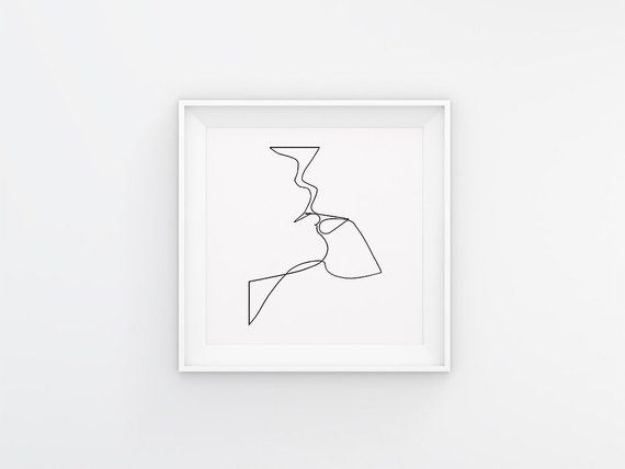 Abstract Kiss Line Art – Minimalist Art – Line Drawing – Love Poster