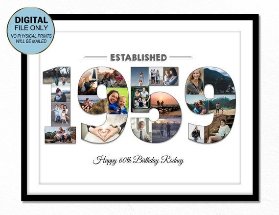 60 60 Geburtstag Geschenk 60. Geburtstag Foto Collage 60