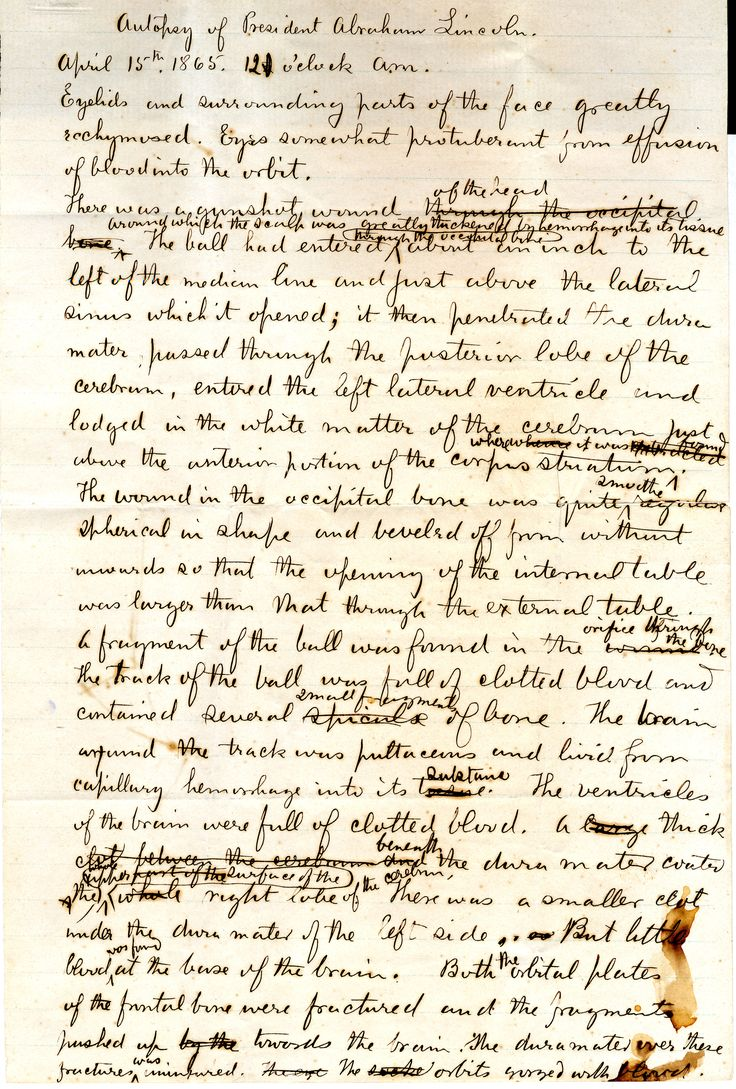 Notes taken at Abraham Lincoln's Autopsy by Dr. J. J. Woodward