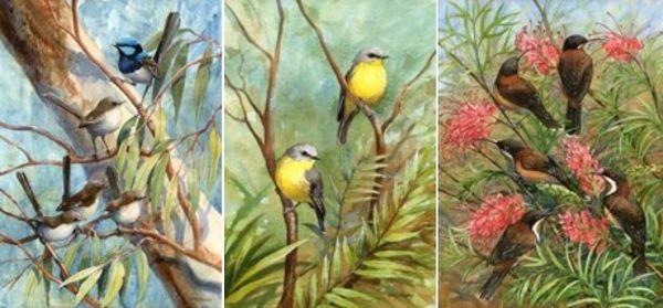 Prints – Small Birds. Rhonda's Art is a collection of original watercolour, mixed media and silk paintings by Gosford artist Rhonda N. Garward.