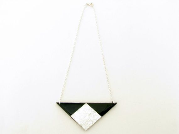 Black Triangle Necklace Geometric Necklace by SotiriaVasileiou, $27.00