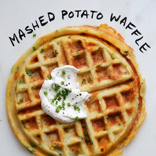Mashed Potato Waffle-- Cook potatoes and mix all ingredients together. Heat waffle maker to medium-high, waiting until the light indicates that the iron is ready. Spray each side of the iron with cooking spray. Spread about 1/2 cup mashed potatoes onto the bottom of the waffle iron, and cook for 5-6 minutes, or until crispy and golden. Top with Greek yogurt and chives. -
