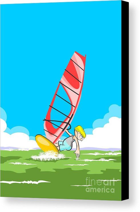 Boy Enjoying Windsurfing On A Clear Summer Morning Canvas Print by Daniel Ghioldi.  All canvas prints are professionally printed, assembled, and shipped within 3 - 4 business days and delivered ready-to-hang on your wall. Choose from multiple print sizes, border colors, and canvas materials. #windsurf #windsurfboard #windsurfing #cartoon #cartoons #kid #child #young #windsurfer #boy #riding #wave #swimsuit #beach #sea #ocean