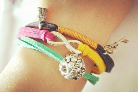 leather cord wrap bracelet, charm bracelet, faux suede cord wrap bracelet