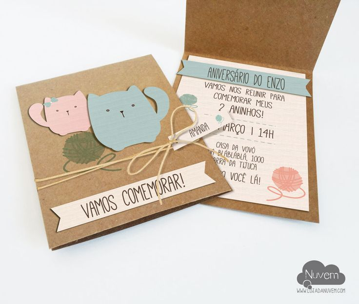 Convite Pet Gatinho - artesanal em papel kraft, papel linho, recortes especiais e relevos. Já pode seguir com o nome de seu convidado no tag.