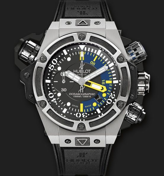 Hublot King Power Oceanographic 1000 Dive Watch. Damn. Pretty cool, although like most Hublots, you're looking at dropping well over ten grand to get one on your wrist. Neat, yes, but not that neat.