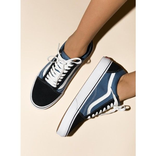 Vans Old Skool ($91) ❤ liked on Polyvore featuring shoes, navy, lace up shoes, laced up shoes, vans footwear, navy blue shoes and stripe shoes