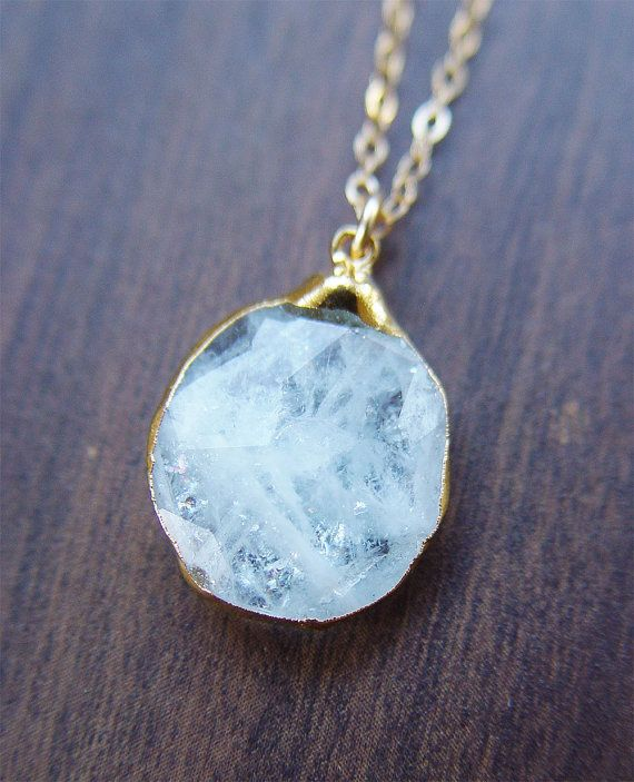 SALE Aquamarine pendant gold necklace