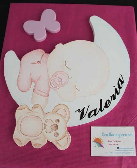Decoración infantil personalizada y letras decorativas: SILUETA INFANTIL: BEBÉ DURMIENDO EN LUNA PARA VALERIA