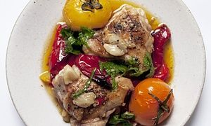 Nigel Slater's chicken with peppers, mint and lemon recipe