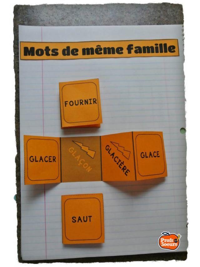 Mots de même famille sur cahier interactif