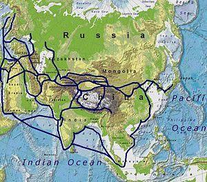 Rota da Seda. Grande importância nas trocas comerciais e culturais entre o Ocidente e o Oriente passando pelo Oriente Médio, subcontinente Indiano e nordeste da África.