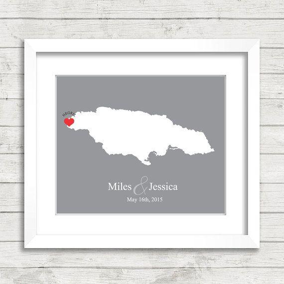 8x10 Jamaica Wedding Map - Negril, Jamaica - Love Map - Destination Wedding - Wedding, Engagement & Anniversary Gift - Newlyweds
