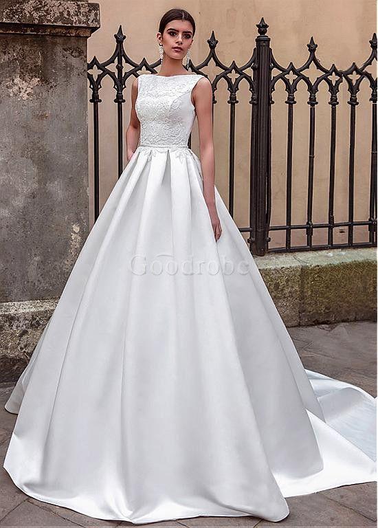 Robe de mariée traîne longue vintage colle bateau elégant & luxueux satin - photo 1
