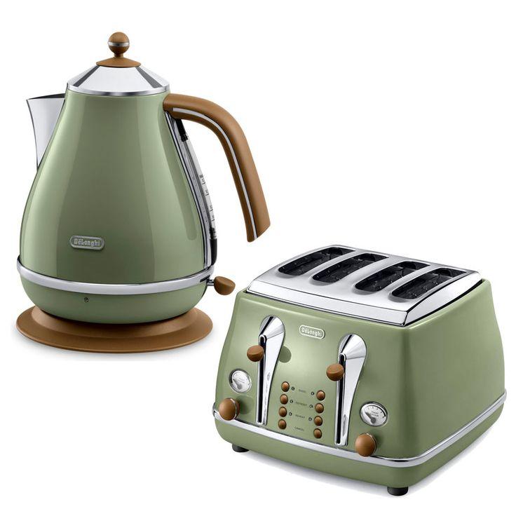 Delonghi Icona Vintage 4 Slice Toaster and Kettle Bundle - Olive Green