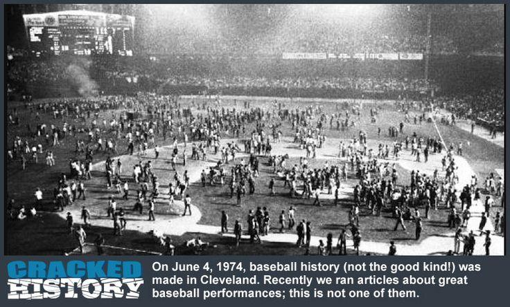 June 4, 1974: 10 Cent Beer Night Riot (Indians vs. Rangers) - http://www.crackedhistory.com/june-4-1974-10-cent-beer-night-riot-indians-vs-rangers/