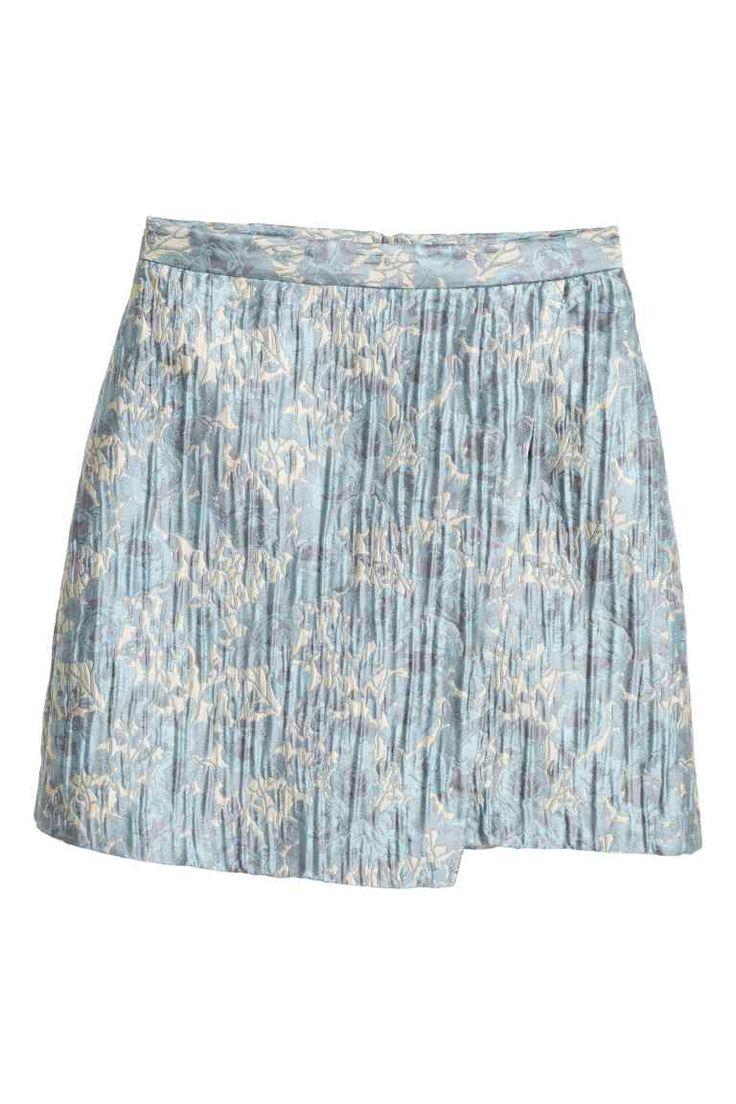 Falda cruzada en jacquard - Azul claro/Estampado - MUJER | H&M ES