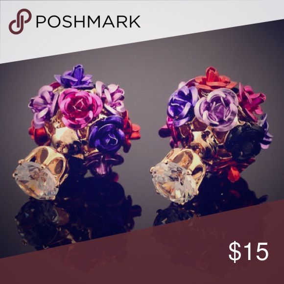 💗NEW💗Multicolor roses two-sided gold plated Multiple color of roses adorn these adorable two sided earrings. You can also use any stud you want to mix it up!!🤗 Jewelry Earrings