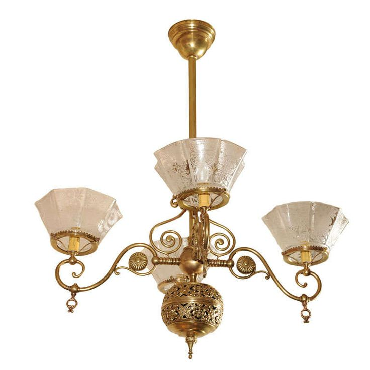 Four Arm Victorian Gas Chandelier, Aesthetic Style | From a unique collection of antique and modern chandeliers and pendants at https://www.1stdibs.com/furniture/lighting/chandeliers-pendant-lights/