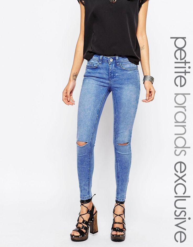 Image 1 ofNew Look Petite Ripped Knee Skinny Jean