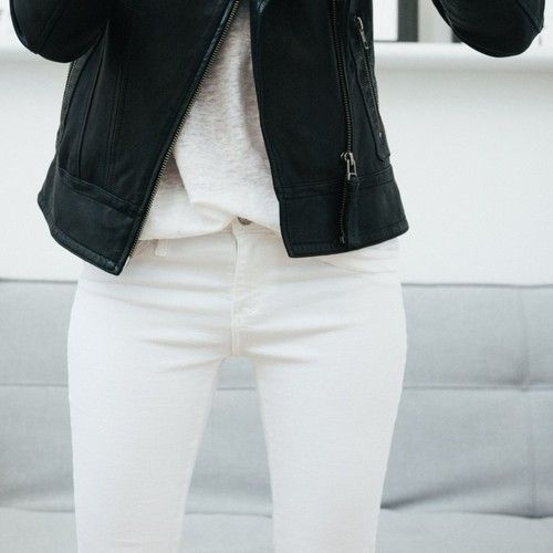 white jeans, leather jacket #minimal #style
