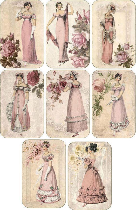 Vintage inspired victorian Jane Austen scrapbooking cards tags set 8 envelopes: