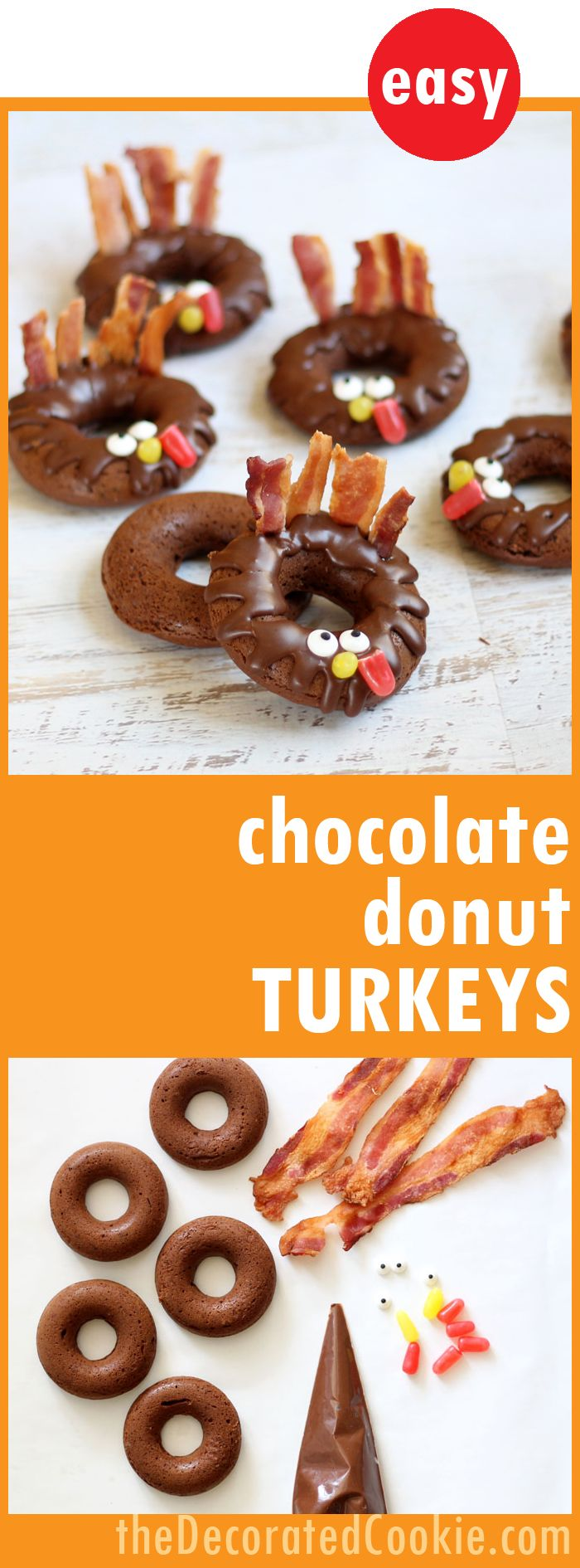 Fun Thanksgiving breakfast idea: Easy baked chocolate donut TURKEYS!