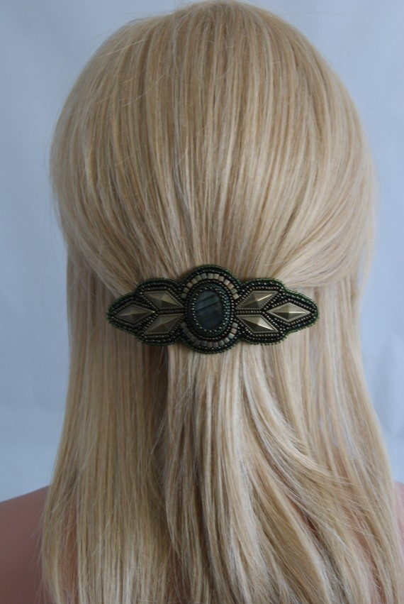 Barrette-Bead embroidered Barrette