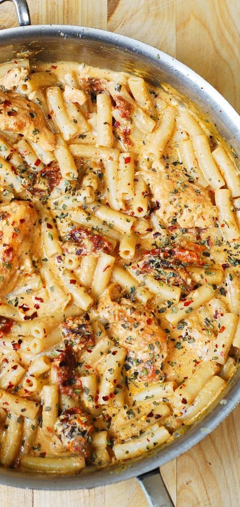 Chicken breast tenderloins sautéed with sun-dried tomatoes and penne pasta in a creamy mozzarella cheese sauce seasoned with basil, crushed red pepper flakes. If you love pasta, if you love Italian food – you'll LOVE this recipe!