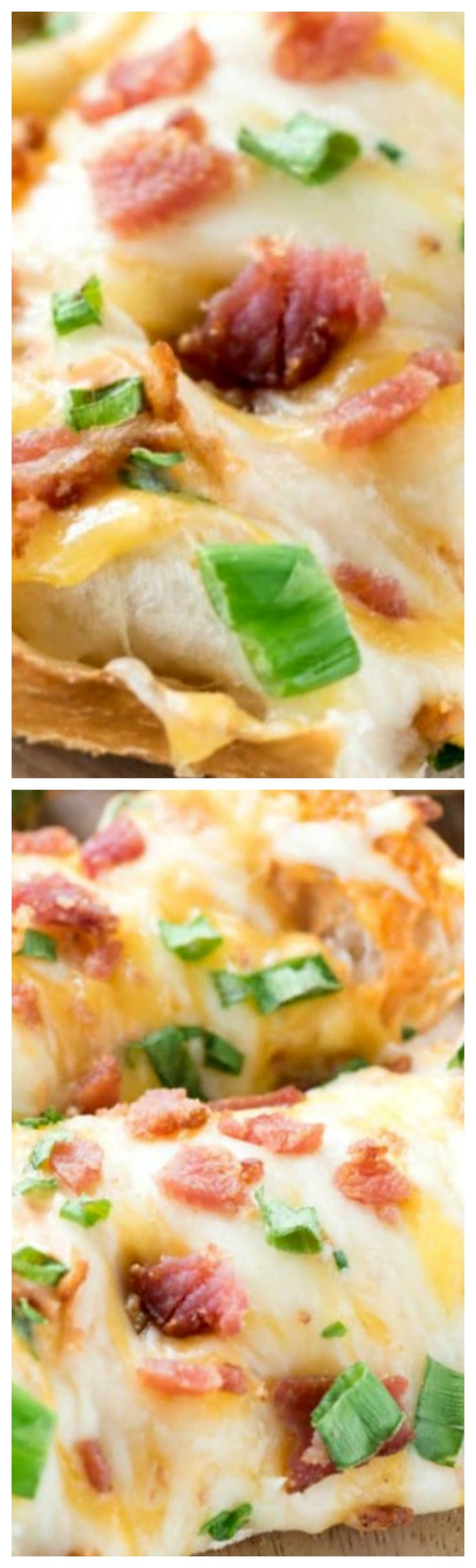 Cheesy Bacon Ranch French Bread Pizza – this easy dinner recipe combines ranch with PIZZA! Ranch is mixed with pizza sauce and topped with extra cheese and bacon. The perfect weeknight meal!