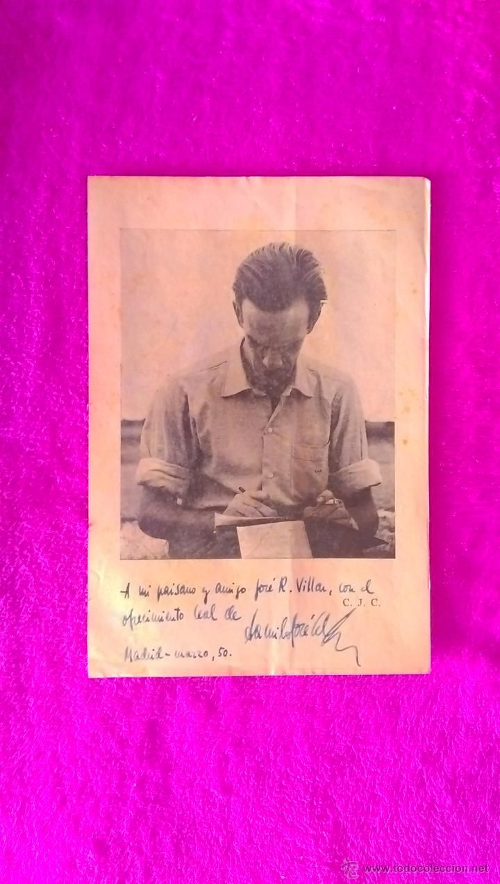 FOTOGRAFIA FIRMADA Y DEDICADA POR CAMILO JOSE CELA A JOSE RAMON VILLAR CHAO  1950