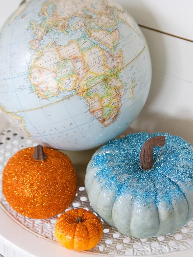 Shake up your Halloween decor with these colorful glittered pumpkins. A great project for kids, creating these sparkling pumpkins is quick, easy and fun