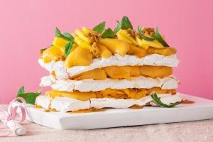 Chewy meringue and mango sorbet cake