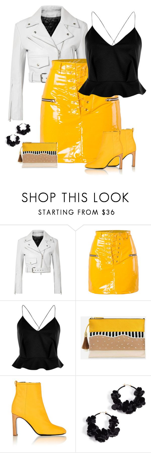 """""""Leather Mini Skirt & Leather Jacket"""" by majezy ❤ liked on Polyvore featuring Calvin Klein 205W39NYC, River Island, rag & bone and Oscar de la Renta"""