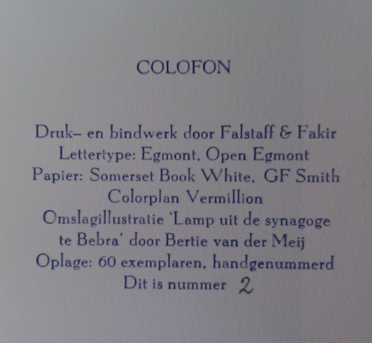 Colofon Heinrich Heine: Prinses Sabbat. Falstaff & Fakir Private Press 2012.