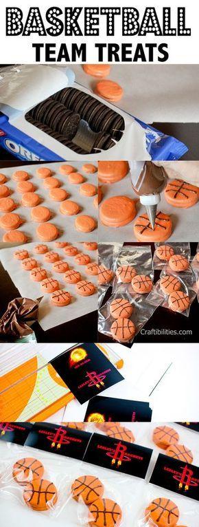 Craftibilities: Basketball TREATS - Party or Team Mom IDEAS! Any sport - baseball, soccer, softball  #marchmadness