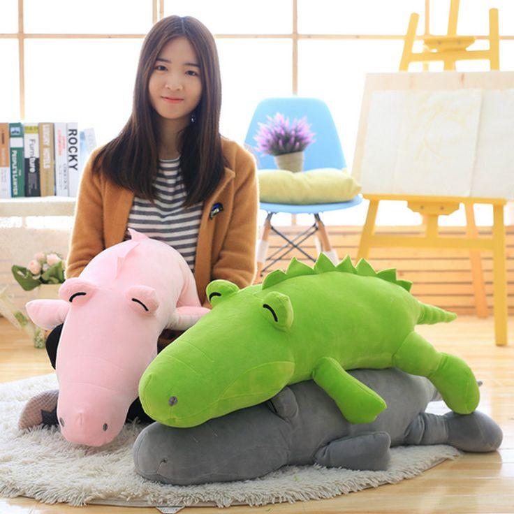 90cm 2018 New Style Frog Crocodile Plush Toys pink/green/gray stuffed soft plush pillow Cushion animals doll birthday gift #Affiliate