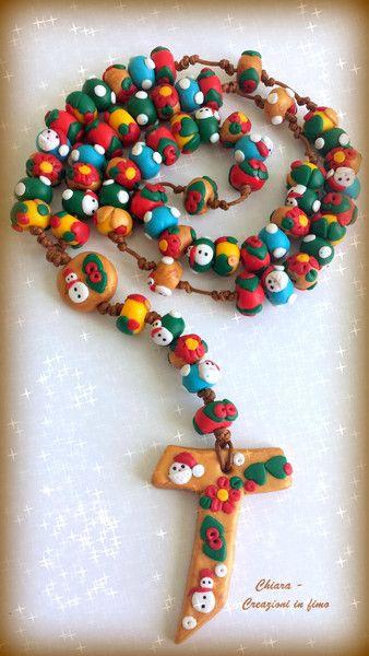Ketten lang - Weihnachtlichen Rosenkranz aus Fimo - ein Designerstück von ChiaraZanone bei DaWanda