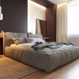 Студия LESH | Большая мягкая кровать из ткани в современной спальне