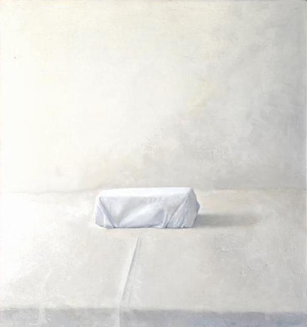 Vivian van der Merwe--Still-life with Wrapped Ethiopian Salt Block [P106] 06/09 (2009) Oil on board (400 x 425 mm)